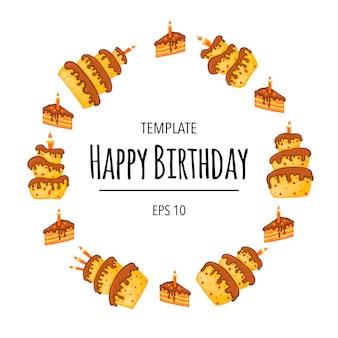 Okrągła ramka urodziny tekstu z ciastami. styl kreskówki. wektor.