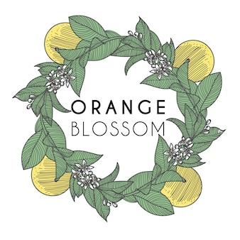 Okrągła ramka z kwiatem pomarańczy