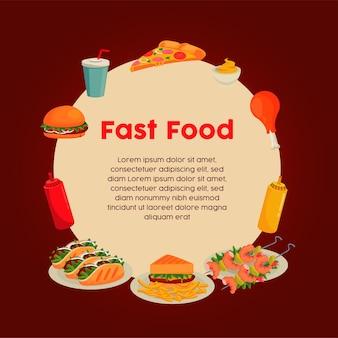Okrągła ramka z pysznym fast foodem wokół napisu