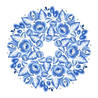 Okrągła ramka z rosyjskiej porcelany w niebieskie kwiaty z pięknym ornamentem ludowym. ilustracja. dekoracyjna kompozycja.