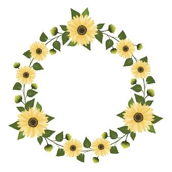 Okrągła ramka z słonecznikowym obramowaniem słonecznika wieniec