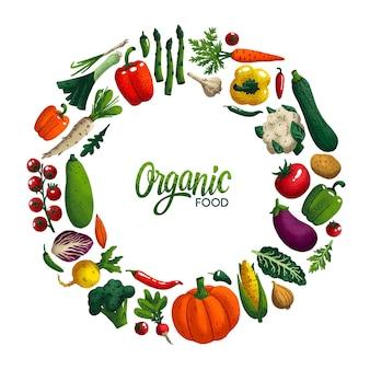 Okrągła ramka z warzywami