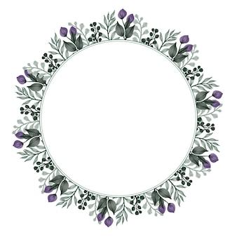 Okrągła ramka z zielonymi liśćmi i obramowaniem pąków na powitanie i kartkę ślubną