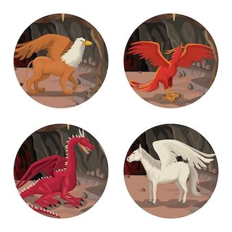 Okrągła ramka ze sceną wnętrza jaskini ze zwierzęcymi greckimi mitologicznymi stworzeniami