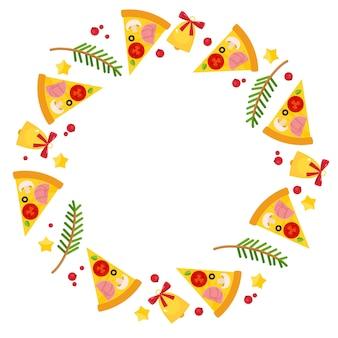 Okrągła ramka ze świąteczną pizzą, świerkowymi gałęziami i dzwoneczkami.