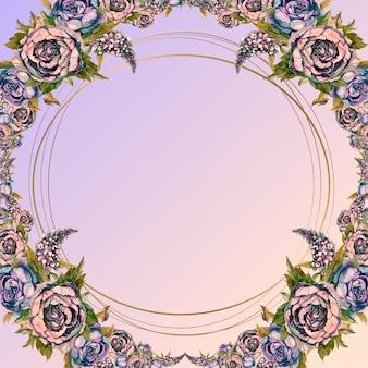 Okrągła ramka złota z bukietem kwiatów akwarela