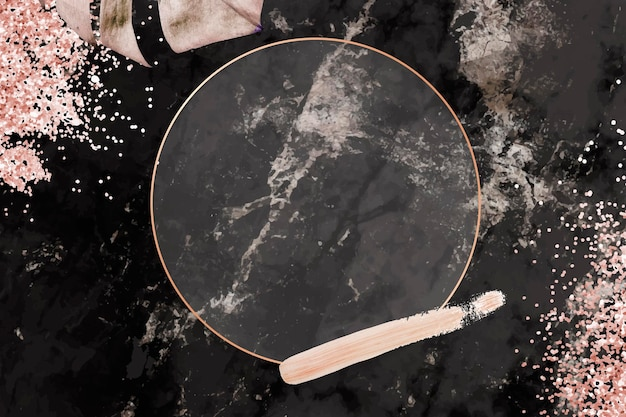 Okrągła różowa złota rama z tłem w kształcie liścia monstera