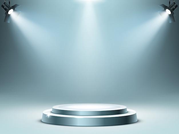 Okrągła scena na podium w promieniach reflektorów, realistyczna