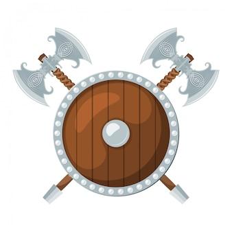Okrągła tarcza i dwie topory bojowe na białym tle