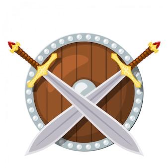 Okrągła tarcza i miecz bojowy na białym tle