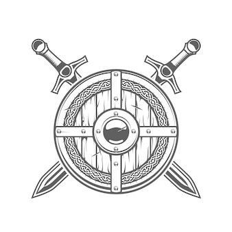 Okrągła tarcza wikinga z celtyckim wzorem i dwoma skrzyżowanymi mieczami, emblemat średniowiecznego rycerza ze zbroją