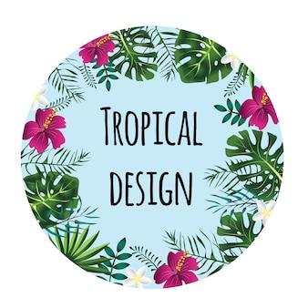 Okrągła tropikalna rama, szablon z miejscem na tekst. ilustracja na białym tle.