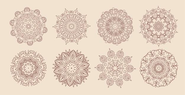 Okrągła vintage mandala klasyczny zestaw ośmiu