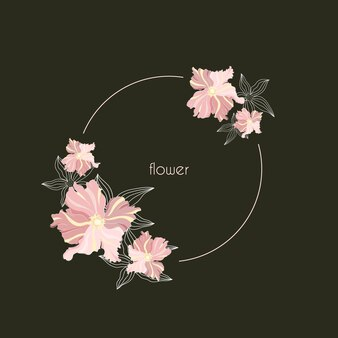 Okrągła wiosna rama z kwiatami
