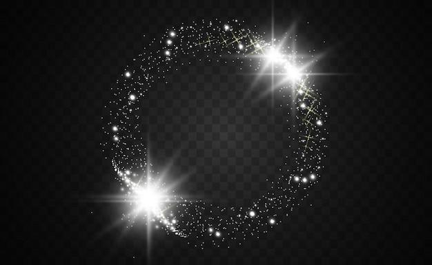 Okrągła złota błyszcząca ramka z lekkimi wybuchami