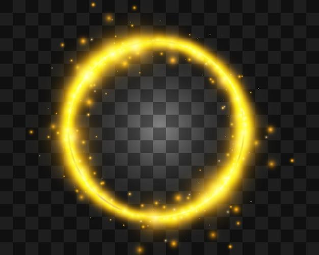 Okrągła złota błyszcząca ramka z lekkimi wybuchami.