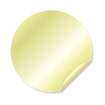 Okrągła złota naklejka samoprzylepna ze złożoną krawędzią.