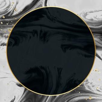 Okrągła złota rama na abstrakcyjnej czarnej akwareli