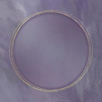 Okrągła złota rama na fioletowym tle