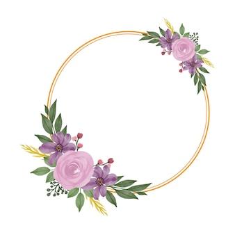 Okrągła złota rama z bukietem różowych róż na kartkę ślubną