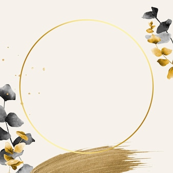 Okrągła złota rama z wzorem liści eukaliptusa