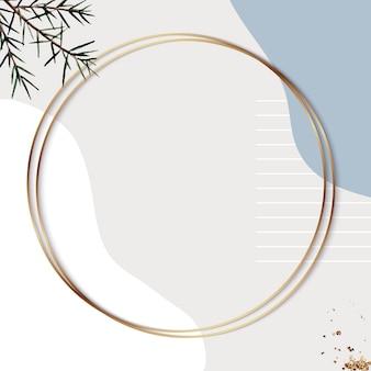 Okrągła złota ramka na beżowym minimalnym tle wzorzystym