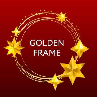 Okrągła, złota ramka w złote gwiazdki