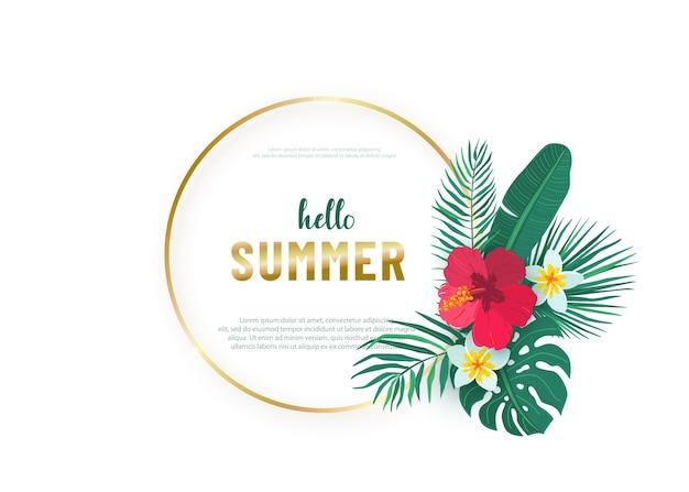 Okrągła złota ramka z bukietem liści tropikalnych hawajów. kompozycja z egzotycznymi roślinami w prostym stylu z płaskim