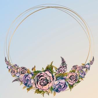 Okrągła złota ramka z kwiatami akwarela