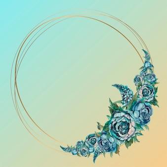 Okrągła złota ramka z kwiatami akwarela.
