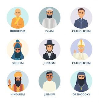 Okrągłe awatary ze zdjęciami przywódców religijnych