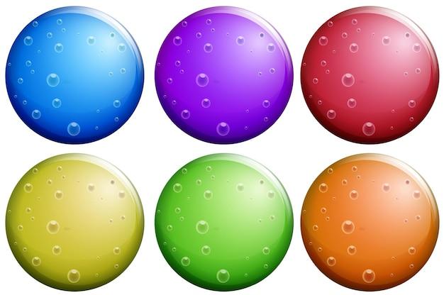 Okrągłe bąbelki w sześciu kolorach