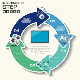 Okrągłe banery strzałkowe, infografiki