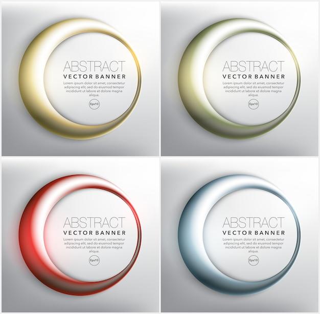 Okrągłe banery w 4 różnych kolorach. pierścienie z błyszczącymi światłami. pojedynczo na białym tle. ilustracja. eps 10.