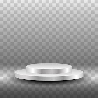 Okrągłe białe podium. puste podium ze stopniami. cokoły do showroomów, podest podłogowy
