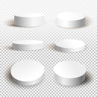 Okrągłe białe podium z cieniem.