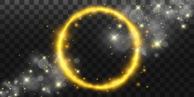 Okrągłe błyszczące idealne tło. eps10. piękne światło. magiczny krąg. drogocenne tło. okrągła złota błyszcząca ramka z wybuchami światła.