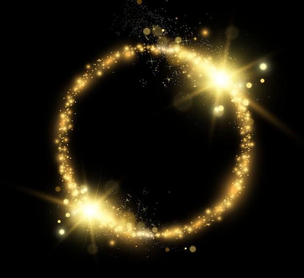 Okrągłe błyszczące idealne tło. okrągła złota błyszcząca ramka z lekkimi wybuchami. błyszczący złoty pył. błyszczące błyszczące iskierki.