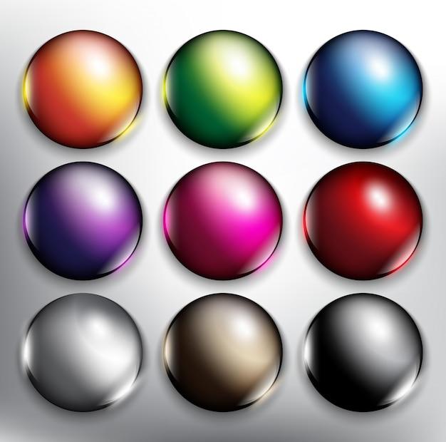 Okrągłe błyszczące przyciski internetowych. pojedynczo na białym tle.
