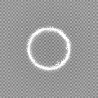 Okrągłe błyszczące tło ramki ze światłami. streszczenie luksusowy pierścień światła.