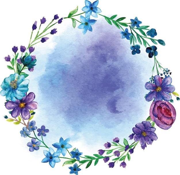 Okrągłe bukiety kwiatów z tłem akwarela