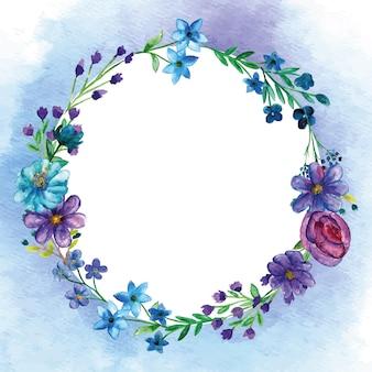 Okrągłe bukiety kwiatów z zewnętrznym tłem akwarela