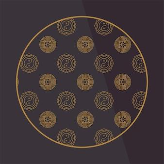 Okrągłe chińskie elementy dekoracyjne z wzorem. rama, obramowanie, płytki. tradycyjne wzory i dekoracje na kartki okolicznościowe, wzory, tekstylia. do odzieży, mebli i opakowań. płaskie wektorowe ikony.