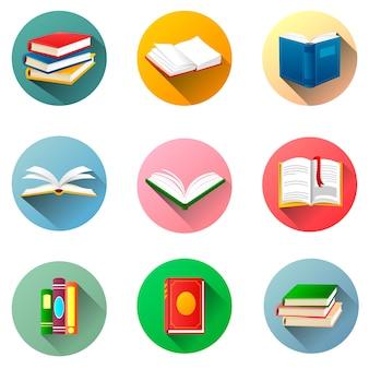 Okrągłe etykiety do książek. zestaw książek na białym tle