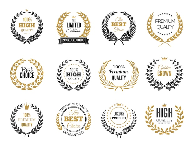 Okrągłe etykiety premium. godło sprzedaży lub zwycięstwo z kolekcji odznak okrągłe gałęzie greckie