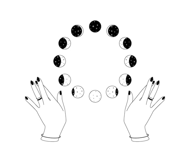 Okrągłe fazy księżyca nad kobiecymi rękami zarys bohemy niebiański symbol duchowe okultystyczne znaki w...