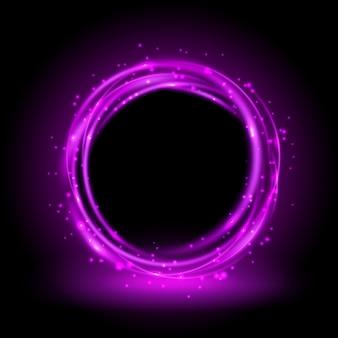 Okrągłe fioletowe błyszczące tło