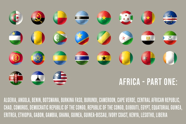 Okrągłe flagi afryki