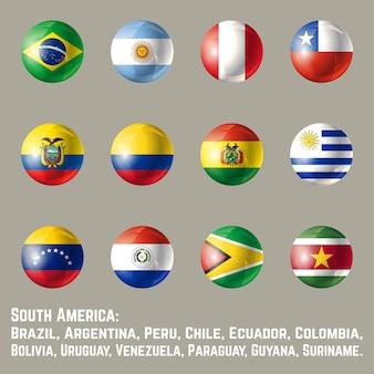 Okrągłe flagi ameryki południowej