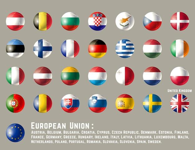 Okrągłe flagi unii europejskiej